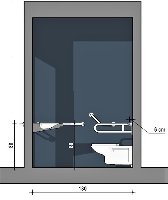 Les dimensions conseillées d'une salle de bain pour personne en situation d'handicap vue en coupe B-B issue du logiciel Edificius