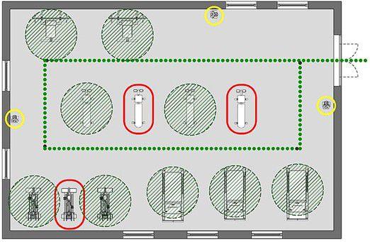 Vue planimétrique de salle de musculation avec des cercle vert pour indiquer les machine d'entraînement disponible