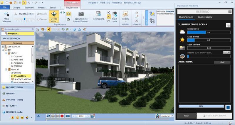 Capture d'écran des paramètres et réglages pour effectuer un rendu dans Edificius