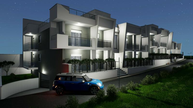 Edificius User eXperience : 'image et un rendu de maisons groupées sur 1 étage, il ya l'effet de nuit avec la lumières des balcons et les lumières des cages d'escalier qui reflètent sur la peinture de couleur blanche des maisons, il y a aussi une voiture bleu parquée devant l'immeuble.