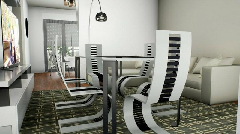 Edificius user eXperience, Le rendu est une image du salon avec en premeier plan des chaisses modernes et une table en verre issu du logiciel Edificius