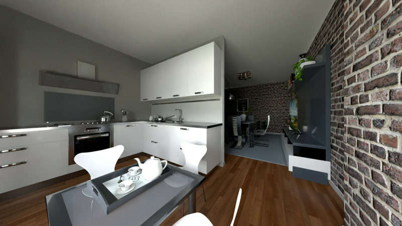 Edificius User eXperience, un rendu d'une cuisine moderne semi ouverte qui est séparée du salon avec une cloison