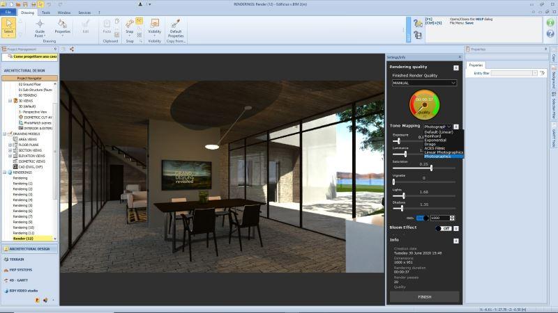 Nouvelles fonctionnalités Edificius:une capture d'écran du logiciel Edificius dans la fonctionnalité du mappage tonal est mise en avant