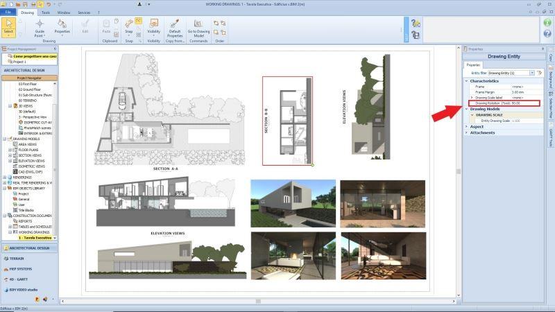 Nouvelles fonctionnalités Edificius:une capture d'écran du logiciel Edificius dans le nœud plans d'exécution ou la fonctionnalités rotation dessin est mise en avant