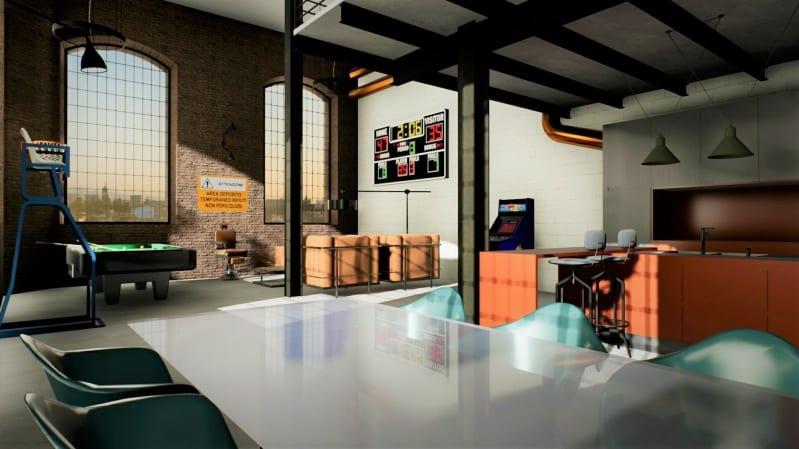 architecture d'intérieur l'image représente une perspective d'un loft avec son mur en brique rouge et ses hauts plafonds et ses espaces de vies avec un billard et un tableau des scores, réalisé avec Edificius le logiciel d'architecture d'intérieur