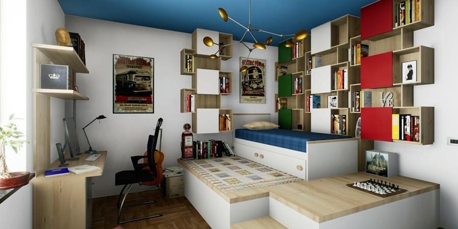 l'image représente une chambre de garçon avec un lit sur gradin, un plafond bleu, une guitare et une bibliothèque murale, réalisé avec Edificius le logiciel d'architecture d'intérieur