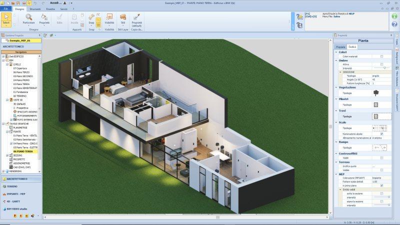 Une vue 3D en coupe axonométrique d'une maison sur plusieurs étage issue du logiciel BIM pour l'architecture Edificius