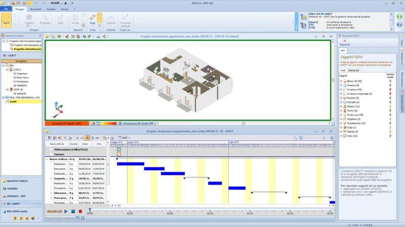 L'image représente un environnemet 4D GANTT avec la ligne du temps pour la gestion des travaux de construction réalisé avec Edificius le logiciel de conception architecturale 3D BIM