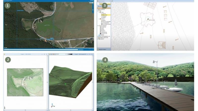 L'image représente les documents des plans d'exécution avec un rendu, un relevé topographique, une vue aérienne depuis Google MAPS, une vue 2D réaliser avec Edificius Logiciel de conception architecturale 3D BIM