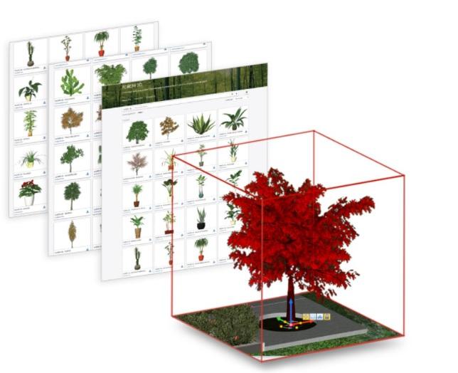 L'image représente les différents blocs 3D arbres, herbes, végétations etc. que l'on trouve à l'intérieur de la bibliothèque de Edificius Logiciel de conception architecturale 3D BIM