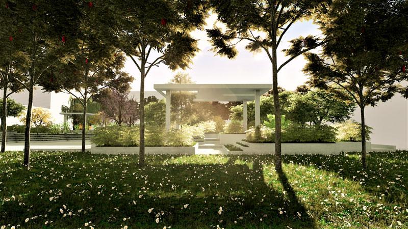 L'image représente un rendu, d'un espace fonctionnel avec une pergola en marbre et des gradins en herbes d'un aménagement d'espace vert, issue de Edificius logiciel de conception architecturale 3D BIM.