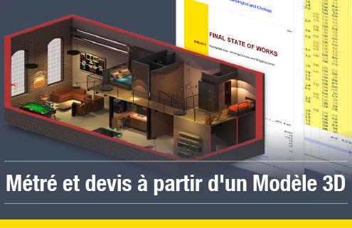 L'environnement 5D le devis et le métré Edificius logiciel 3D BIM pour l'architecture
