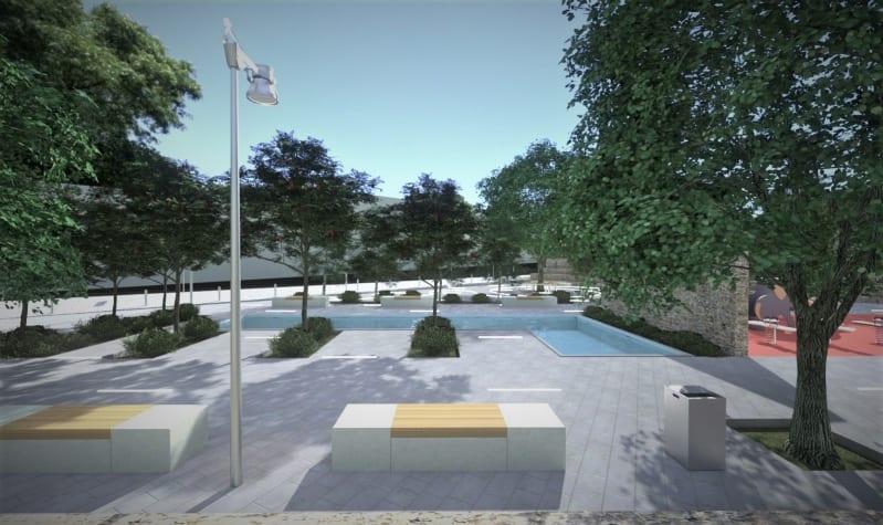 l'image montre un rendu d'une place de jeux avec ses arbres aligner et ses bancs avec une fontaine et ses lumières LED encastres dans le sol