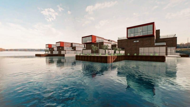 Rendu en temps réel d'une image avec un plan d'eau et des maison individuelle , issu du logiciel Edificius 3D BIM