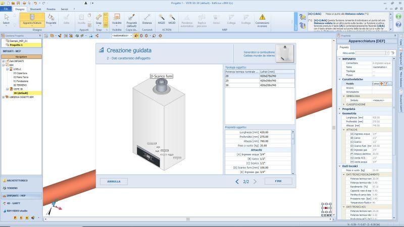 L'image est une capture d'écran pour la création d'une chaudière depuis le Edificius MEP, logiciel pour la conception CVC, Plomberie et Electricité