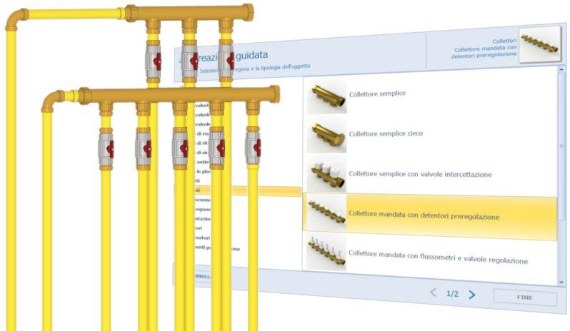L'image est une capture d'écran représentant une installation sanitaire avec des tubes et des vannes disponibles dans Edificius MEP, logiciel Conception CVC, Plomberie et Electricité