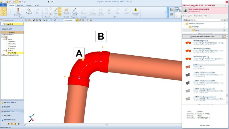 L'image est une capture d'écran du menu des objets disponibles dans Edificius MEP, logiciel pour la conception CVC, Plomberie et Electricité