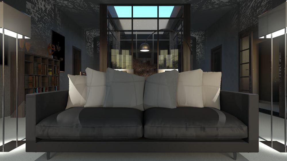 Rendu architectural d'un canapé issu du logiciel Edificius pour l'architecture 3D BIM.