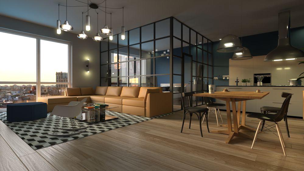 Rendu architectural d'un salon avec des jeux de lumières réalisé par le logiciel Edificius pour l'architecture 3D BIM