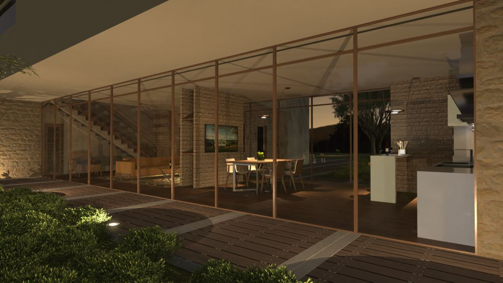 Rendu architectural d'une baie vitrée en effet nocturne issu du logiciel Edificius pour l'architecture 3D BIM