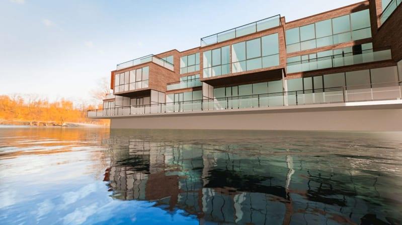 Rendu en temps réel d'une maison avec un miroir d'eau issu du logiciel Edificus 3D BIM pour l'architecture