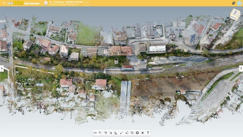 L'image représente un relever de nuages de points d'un tronçon ferroviaire visualiser dans usBIM.broswer