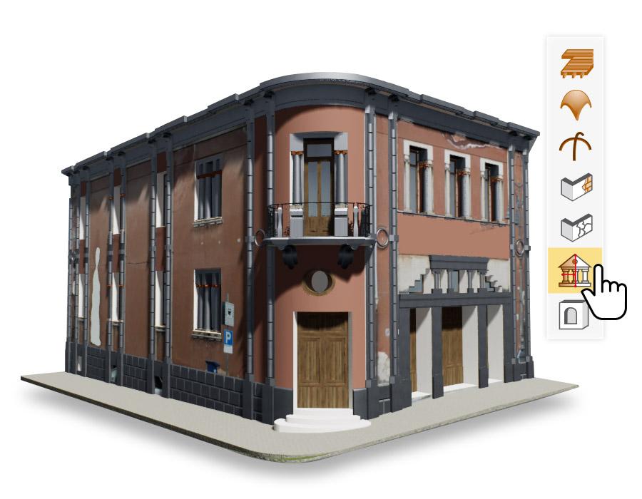Le rendu d'un bâtiment historique issu du logiciel Edificius HBIM