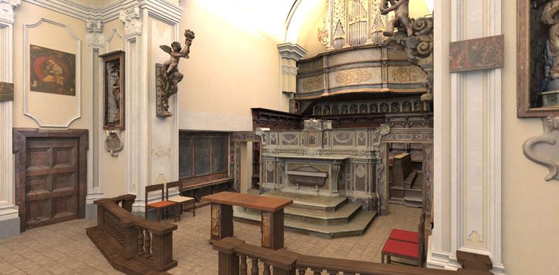 L'image est un rendu issu du nouveau moteur AIrBIM pro2 de AMD, l'image représente l'intérieur d'une église, le rendu et issu du logiciel Edificius pour la conception architecturale