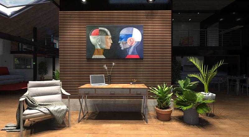 L'image est un rendu issu du nouveau moteur AIrBIM pro2 de AMD, l'image représente un salon ouvert avec des plantes et un tableau au-dessus du canapé, le rendu et issu du logiciel Edificius pour la conception architecturale