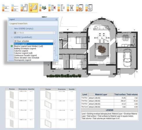 Plan d'étage avec abaque des éléments issu de Edificius