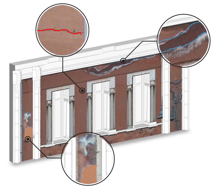 Relevé des fissures du bâtiment existant à partir de l'orthophotographie issu de Edificius HBIM