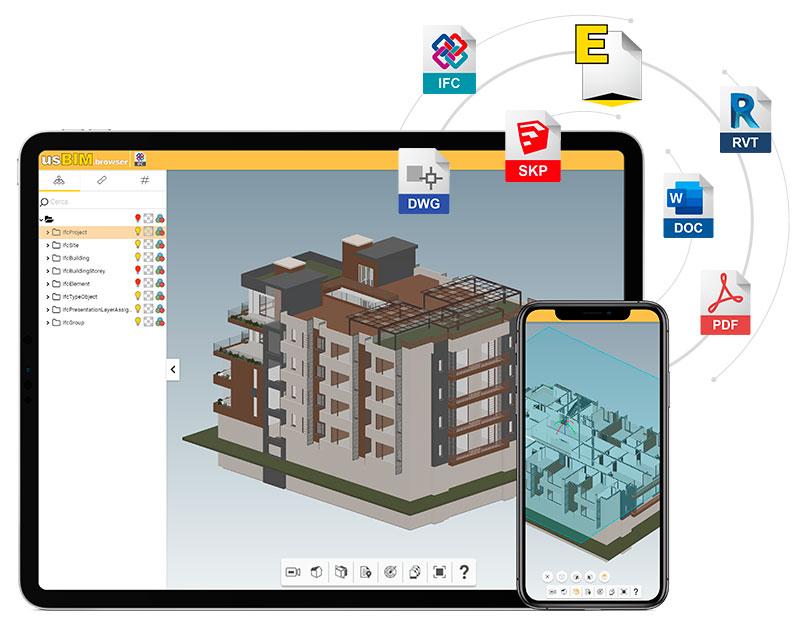 Applications de usBIM pour visualiser et gérer les modèles BIM, les documents et les données en ligne
