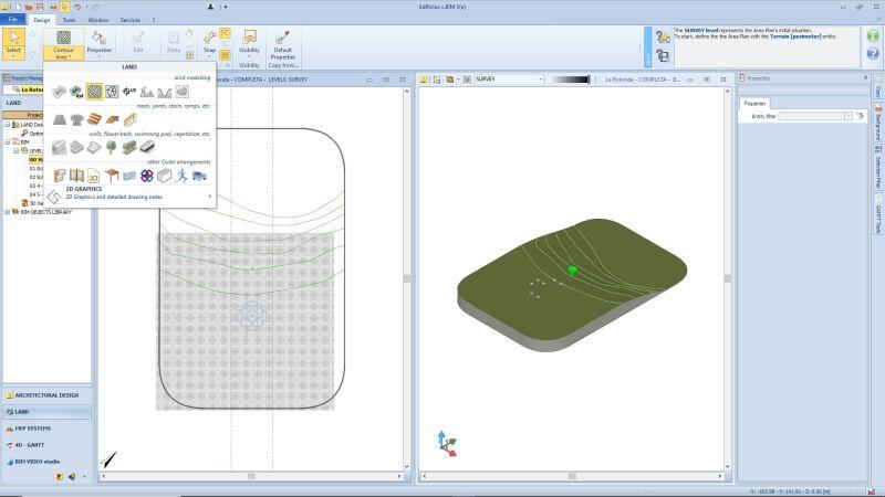 Fonctionnalité de l'environnement terrain issu du logiciel Edificius 3D monument historique