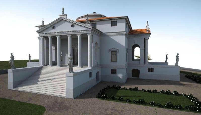 Rendu 3D d'un monument historique HBIM de la villa la Rotonda issu du logiciel Edificius