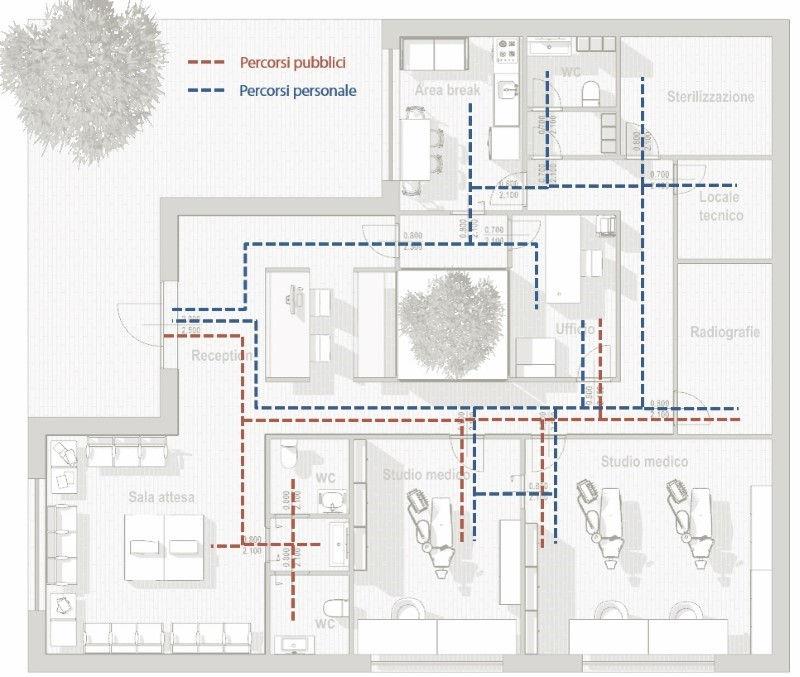 projet cabinet dentaire - plan parcours publiques et privés réalisé avec un logiciel BIM
