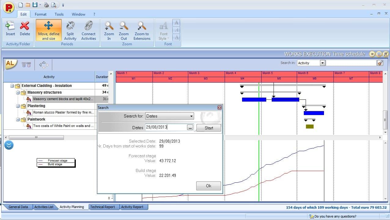 Cronograma, funcionalidades de pesquisa