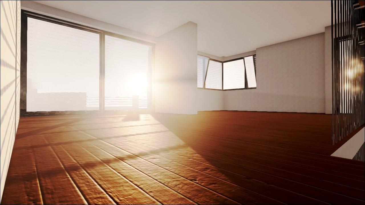 Imagem renderizada de um interior com detalhes da textura da pavimentação