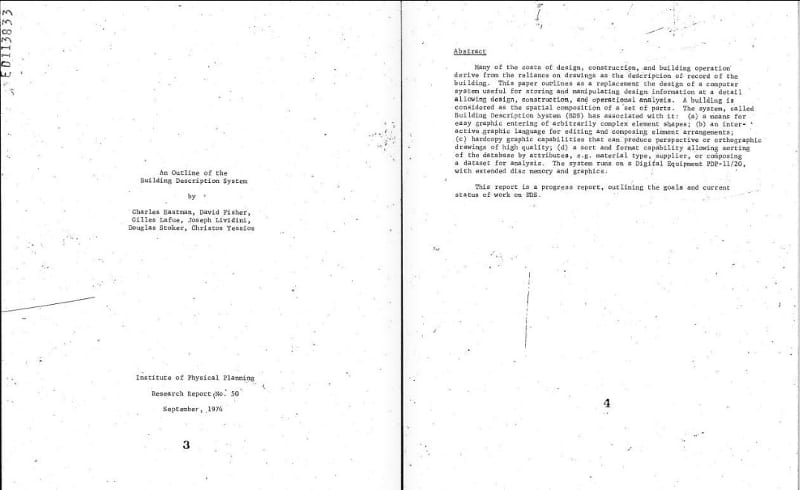Excerto de 'An outline of the building descrition system' 1974