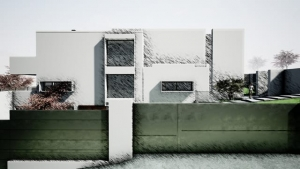 Vista lateral e cerca com efeito artístico