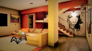 Render dos interiores sala de estar_Casa SJ