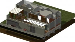 Vista do alto em corte isométrica_Casa SJ
