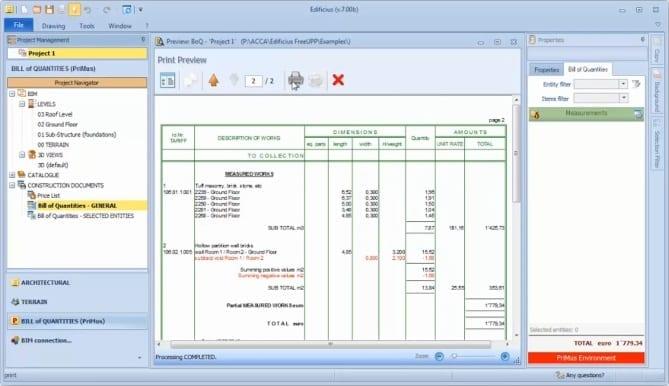 exportação e impressão orçamento_Edificius
