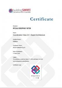 Certificado IFC de Edificius para IFC export