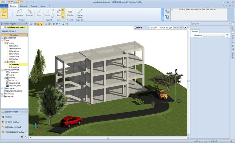 Edificius: modelo arquitetônico - visualização da estrutura preliminar