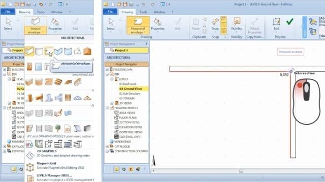 Seleção e inserção invólucro horizontal_BIM software_Edificius