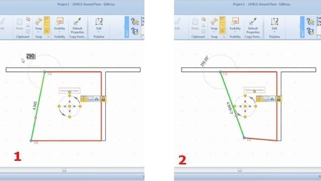 Alteração medidas e ângulos invólucro horizontal_BIM software_Edificius