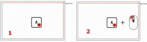Tecla A e Clique para fixar ponto de referência