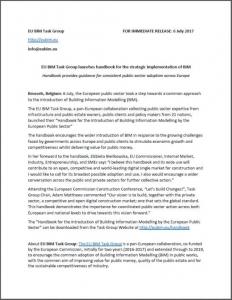 """Comunicado de imprensa para uma adequada adoção do BIM no setor público na Europa inteira"""""""