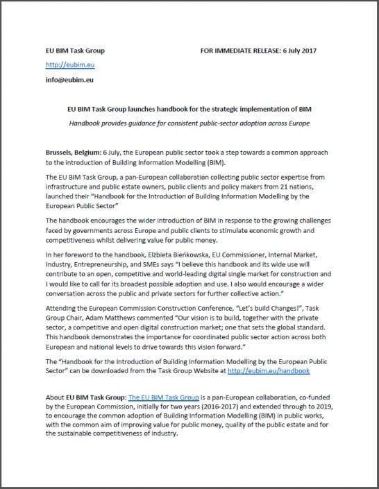 Comunicado de imprensa para uma adequada adoção do BIM no setor público da Europa inteira