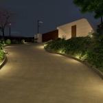 Detalhe rampa de acesso à noite